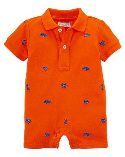 Cotton Embroidered Mesh Shortall, Orange, Size 3-18 Months