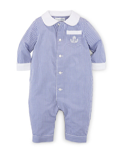 Cotton Gingham Button-Front Coverall, White/Blue, Size 3-12 Months
