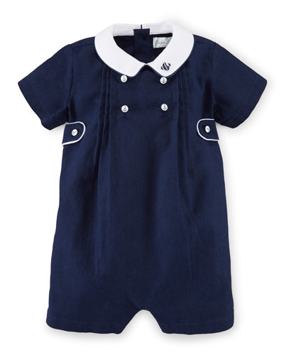 Collared Linen-Blend Novelty Shortall, French Navy, Size 3-18 Months