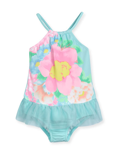 Spring Bloom Floral One-Piece Swimsuit, Crystal Blue, Size 6M-7
