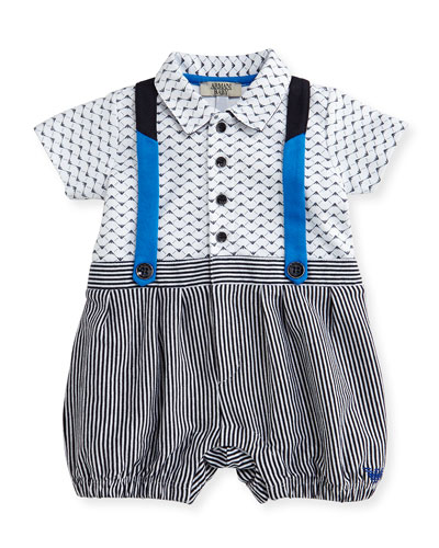 Logo-Print Striped Faux-Suspender Playsuit, White/Blue, Size 3-9 Months
