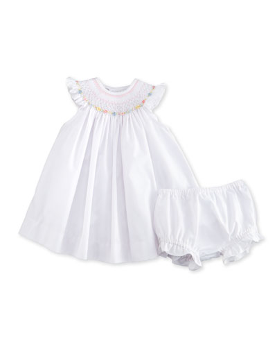 Sleeveless Floral-Trim Bishop Dress w/ Bloomers, White, Size 3-24 Months