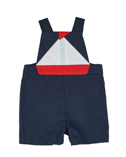 Fine-Wale Sailboat Overalls, Navy, Size 3-24 Months