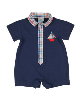 Collared Plaid-Trim Sailboat Shortall, Navy, Size 3-24 Months