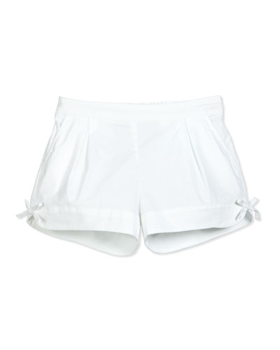 Pleated Stretch Poplin Shorts, White, Size 8-10