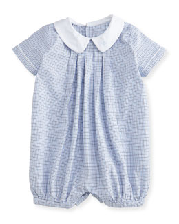 Plaid Pleated Bubble Shortall, White/Blue, Size 3-18 Months