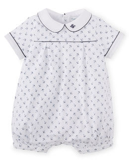 Anchor-Print Pima Bubble Shortall, White, Size 3-18 Months