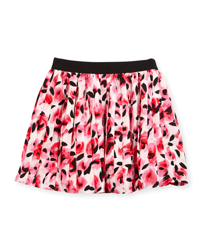 pleated floral chiffon skirt, rosebud, size 7-14