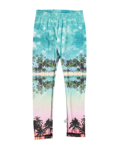Palm Tree Jersey Leggings, Multicolor, Size 6-14