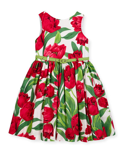 Sleeveless Poplin Tulip Dress, Red/Green, Size 7-14