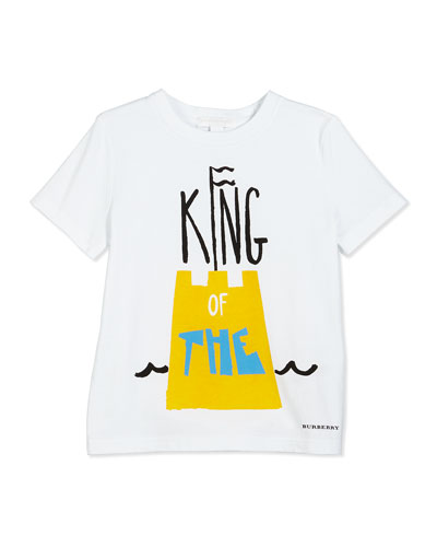 Short-Sleeve Sandcastle Graphic Tee, White, Size 4-10