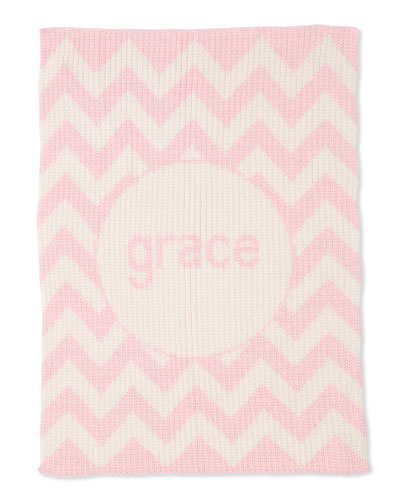Personalized Ribbed Chevron-Knit Baby Blanket, Light Pink