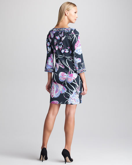 Butterfly-Print Bell-Sleeve Dress