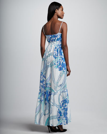 Printed Voile Maxi Dress, Blue