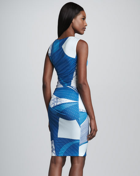 Printed Ruched Jersey Dress, Blue/White