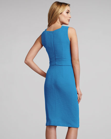 Snap-Shoulder Sheath Dress, Turquoise
