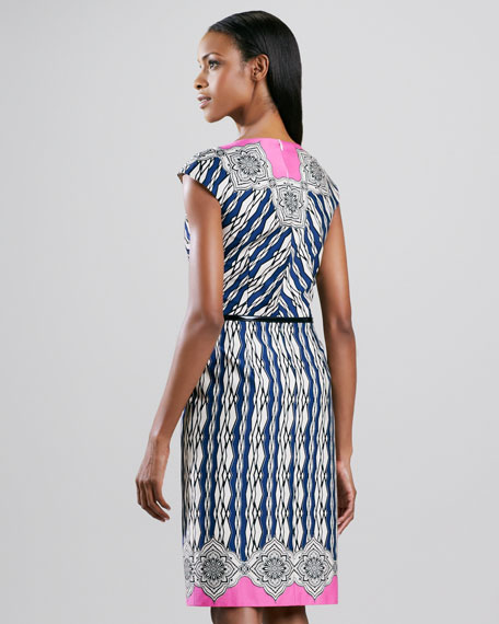 Geometric-Print Belted Dress