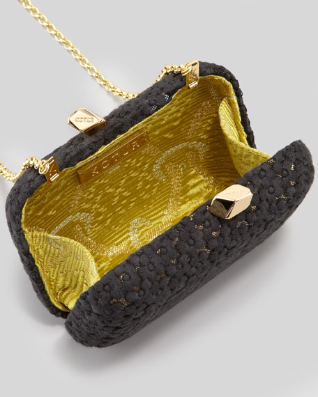 Margo Embroidered-Floral Lace Minaudiere, Black