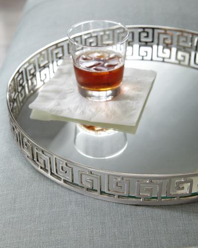 Silvery Greek-Key Tray