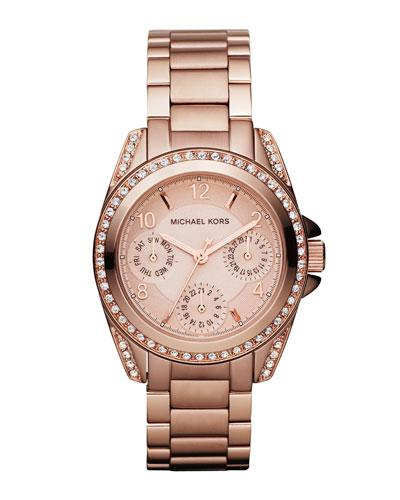 Mini-Size Blair Multi-Function Glitz Watch, Rose Golden