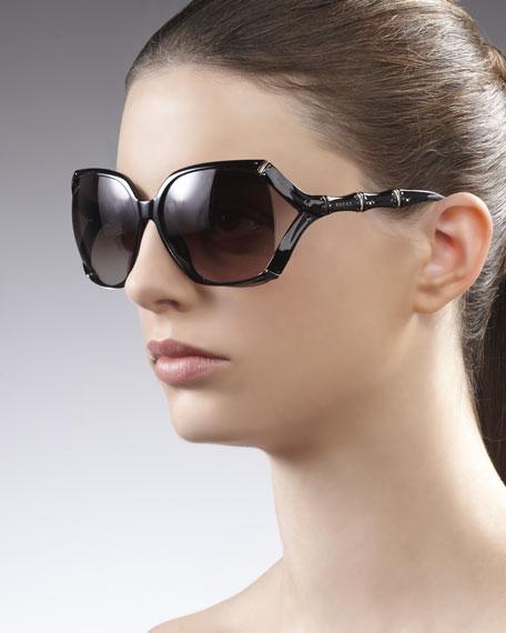 5e06911d660 Source · Gucci Square Plastic Bamboo Shaped Sunglasses