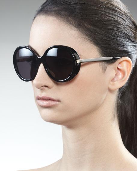 3ded0e236c Carolina Herrera Shiny Round Sunglasses