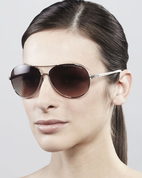 385f15d098 MARC by Marc Jacobs Temple-Detail Aviator Sunglasses