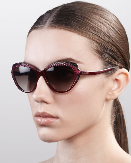 7cc03e64d5 Alexander McQueen Scalloped Modified Cat-Eye Sunglasses