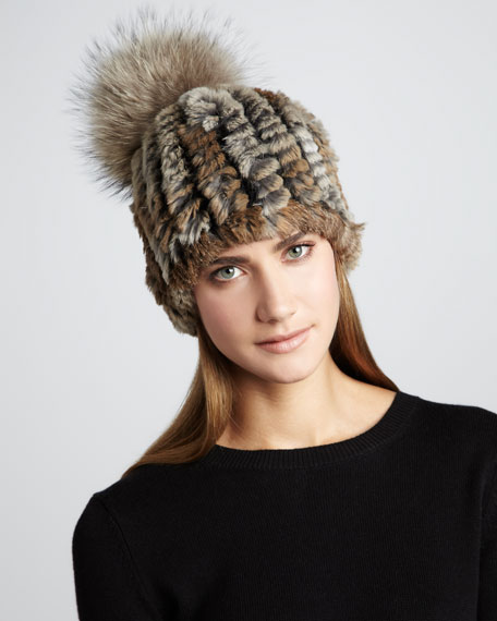 18e2438d5da Adrienne Landau Knit Rabbit Fur Pom-Pom Hat