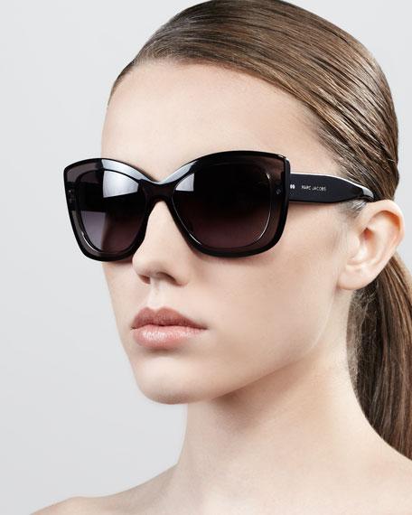 aafad5d322a9 Marc Jacobs Thick-Rim Cat-Eye Sunglasses, Gray/Black