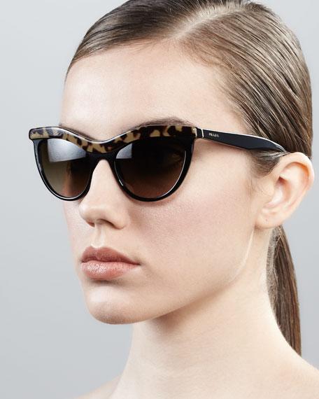 c55d08b3621f Prada Tortoise-Trim Cat-Eye Sunglasses