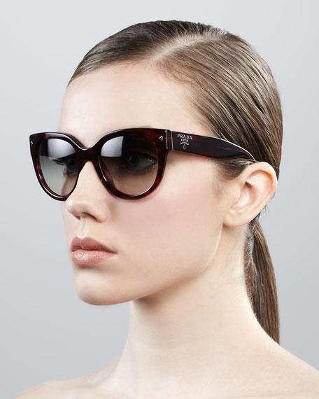 ab29d876537a Prada Cat-Eye Retro Rectangle Sunglasses, Red Havana