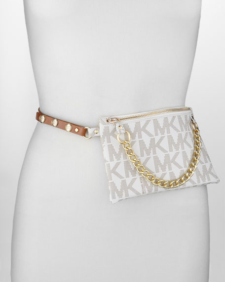 Logo Embossed Belt Bag With Chain Detail