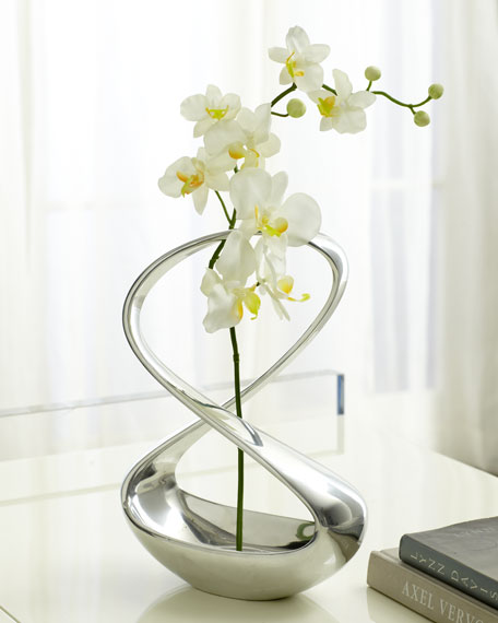 Nambe Infinity Vase With Silk Orchid