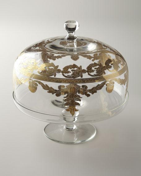 \ Vetro Gold\  Cake Stand \u0026 Dome & Arte Italica \
