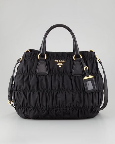 Nylon Gaufre Shoulder Bag Nero Black