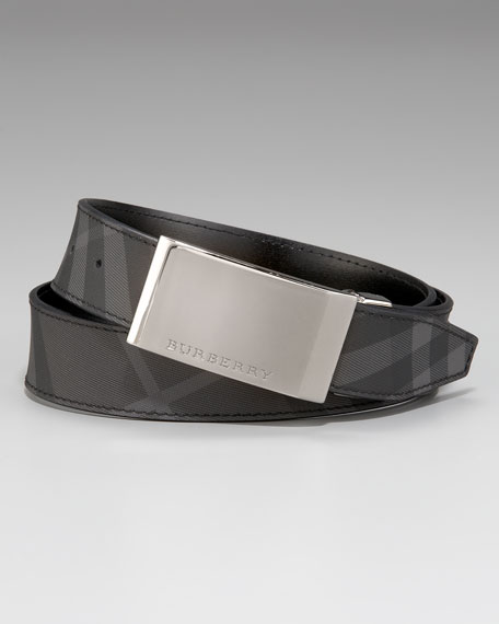Check Leather Belt