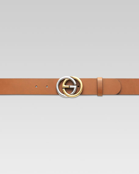 685eb1d64c Gucci Belt with Two-Tone Interlocking G Buckle