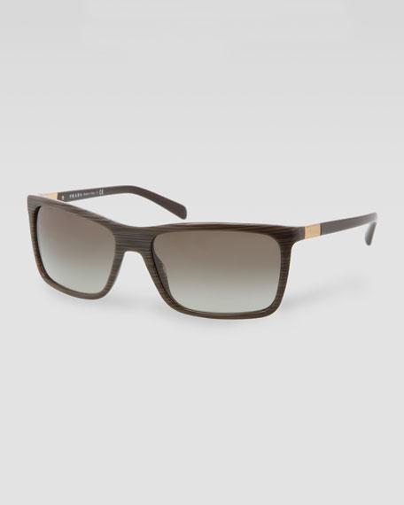 Prada Square Plastic Sunglasses Green Wood