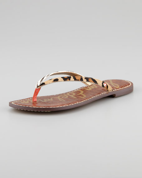 5807b3aa0e6ee Sam Edelman Gracie Animal-Print Calf Hair Thong Sandal. Gracie Animal-Print  Calf Hair Thong Sandal