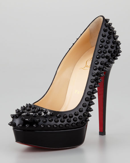 separation shoes 16919 546b7 Bianca Spiked Red Sole Platform Pump Black