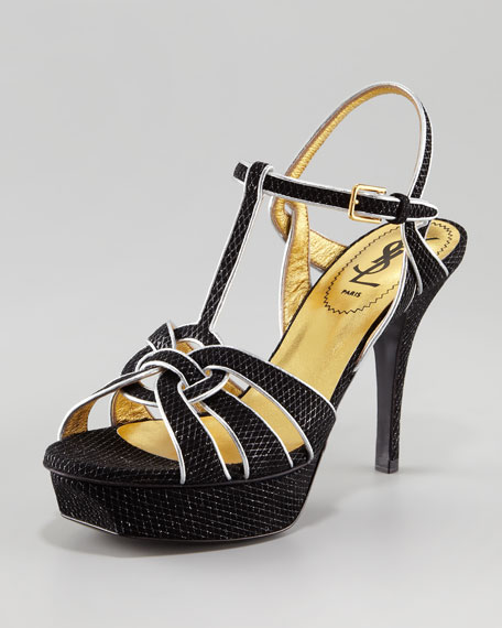 08c97d7c2a8 Yves Saint Laurent Tribute Metallic-Trim Sandal