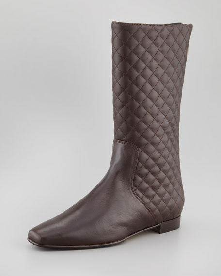 4f2e84e58e7f8 Manolo Blahnik Courrin Quilted Flat Mid-Calf Boot, Brown