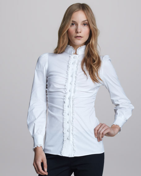 Lace-Ruffled Poplin Blouse