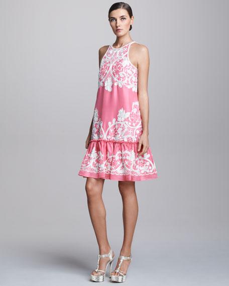 Embroidered Drop Waist Tail Dress