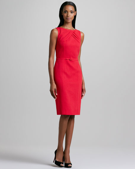 Pleat-Neck Belted Dress