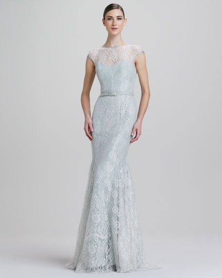 2abc5f1cf4b Theia Fit-and-Flare Metallic Lace Illusion Gown