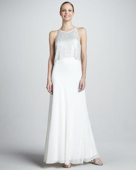Aidan Mattox Sequin-Top Sleeveless Popover Gown