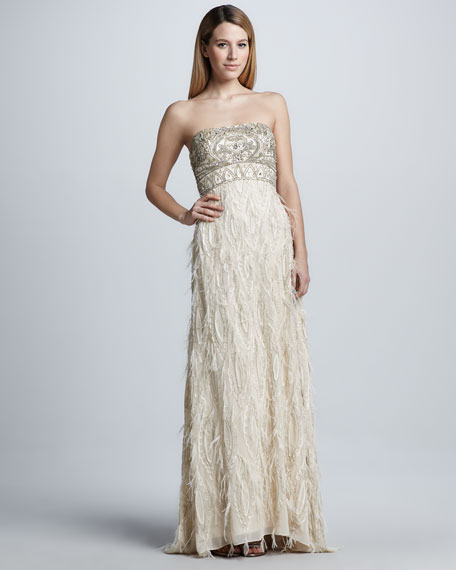 a1b7a9e36227 Sue Wong Strapless Feather-Trim Gown