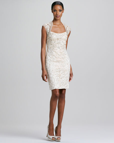 4dae3fa1c14 Sue Wong Cap-Sleeve Beaded Cocktail Dress